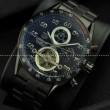 プレゼントでピッタリ タグホイヤー腕時計 自動巻き 5針 トゥールビヨン 日付表示 月付表示 43.00mm BLACK