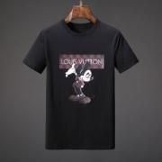 高レビューアイテムヴィトン コピー人気LOUIS VUITTONミキープリントTシャツコットン半袖メンズトップスクルーネックブラック夏服ホワイト
