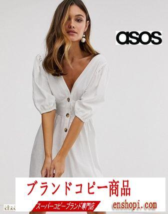 asos コピーブランド*ボタンフロントリネンミニドレス/white-3