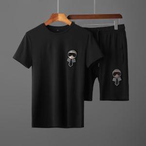 FENDI KARLITO tシャツ上下セット おしゃれ2020春夏流行りフェンデイ コピー 半袖 着込みやすいエレガントセットアップenshopi.com sn:auG1HD-3