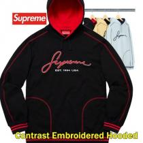 supreme コピー Contrast Embroidered Hooded Sw...
