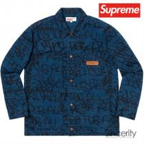 CDG SHIRT PRINTED CANVAS CHORE COAT / NAVY...