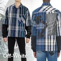 19FW新作☆【Off-white スーパーコピー】ジャージースリーブ チェックシャツ-1