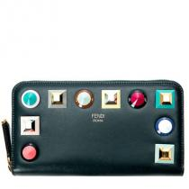 【関税負担】 fendi ブランド コピー 17SS STUDDED ZIP AROUND WALLET