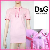 D&G★素敵!ピンクラップルラインストーンボタンポロシャツ-1