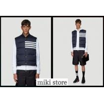 【Thom browne コピー】 4-bar striped downfilled vest in navy