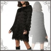 関税込◆ sparkle fringe long-sleeve mini dress