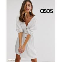 asos コピーブランド*ボタンフロントリネンミニドレス/white-1