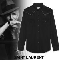 Saint laurent ブランド コピー ロゴエンブロイダリー ウエスタン 長袖シャツ-1